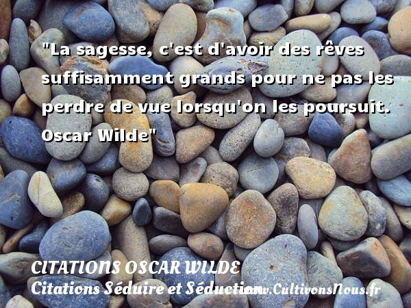 Citations Oscar Wilde - Citation perdre - Citations Séduire et Séduction - La sagesse, c est d avoir des rêves suffisamment grands pour ne pas les perdre de vue lorsqu on les poursuit.   Oscar Wilde   Une citation sur séduire et séduction    CITATIONS OSCAR WILDE