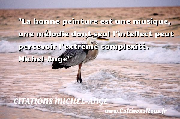 Citations Michel-Ange - Citation musique - La bonne peinture est une musique, une mélodie dont seul l intellect peut percevoir l extrême complexité.   Michel-Ange   Une citation sur la musique    CITATIONS MICHEL-ANGE