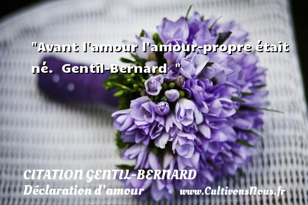 Avant l amour l amour-propre était né.   Gentil-Bernard    CITATION GENTIL-BERNARD - Citations Déclaration d'amour