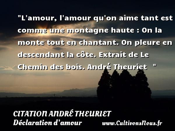 L amour, l amour qu on aime tant est comme une montagne haute : On la monte tout en chantant. On pleure en descendant la côte.  Extrait de Le Chemin des bois. André Theuriet     CITATION ANDRÉ THEURIET - Citation André Theuriet - Citations Déclaration d'amour