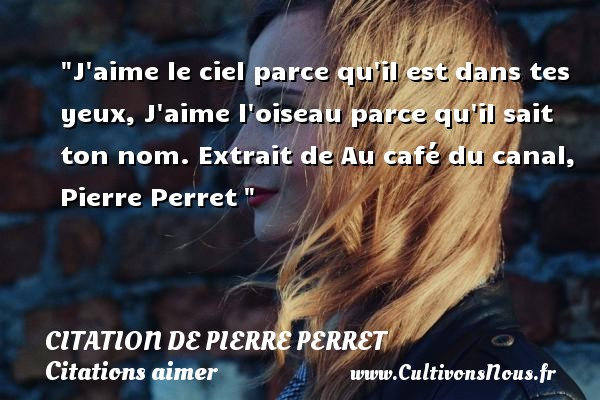 J aime le ciel parce qu il est dans tes yeux, J aime l oiseau parce qu il sait ton nom.  Extrait de Au café du canal, Pierre Perret    Une citation sur aimer        CITATION DE PIERRE PERRET - Citations aimer