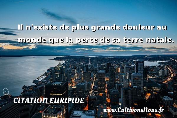 Il n existe de plus grande douleur au monde que la perte de sa terre natale. Une citation de Euripide CITATION EURIPIDE - Citation Euripide
