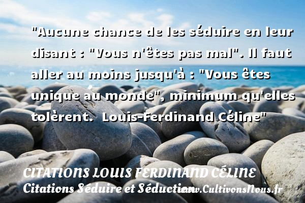 Citations Louis Ferdinand Céline - Citations Séduire et Séduction - Aucune chance de les séduire en leur disant :  Vous n êtes pas mal . Il faut aller au moins jusqu à :  Vous êtes unique au monde , minimum qu elles tolèrent.   Louis-Ferdinand Céline   Une citation séduire et séduction    CITATIONS LOUIS FERDINAND CÉLINE