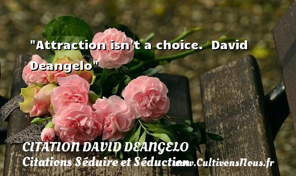 Attraction isn t a choice.   David Deangelo   Une citation séduire et séduction        CITATION DAVID DEANGELO - Citations Séduire et Séduction
