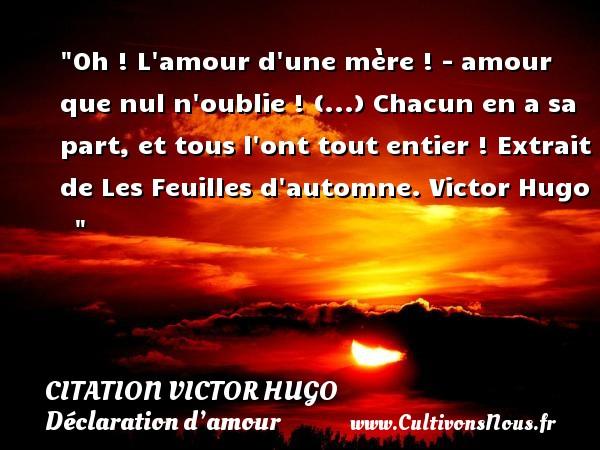 citation Victor Hugo - Citations Déclaration d'amour - Oh ! L amour d une mère ! - amour que nul n oublie ! (...) Chacun en a sa part, et tous l ont tout entier !  Extrait de Les Feuilles d automne. Victor Hugo    CITATION VICTOR HUGO