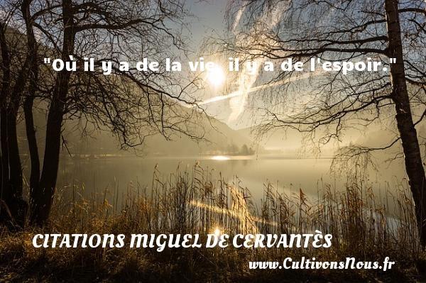 Où il y a de la vie, il y a de l espoir. Une citation de Miguel de Cervantès CITATIONS MIGUEL DE CERVANTÈS - Citations Miguel de Cervantès - Citation sur la vie