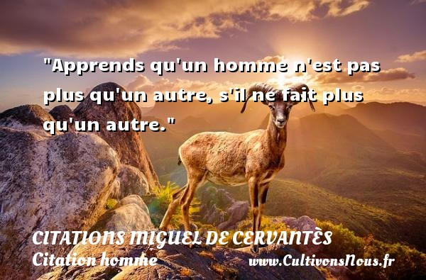 Apprends qu un homme n est pas plus qu un autre, s il ne fait plus qu un autre. Une citation de Miguel de Cervantès CITATIONS MIGUEL DE CERVANTÈS - Citations Miguel de Cervantès - Citations homme