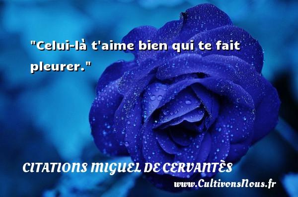 Celui-là t aime bien qui te fait pleurer. Une citation de Miguel de Cervantès CITATIONS MIGUEL DE CERVANTÈS - Citations Miguel de Cervantès