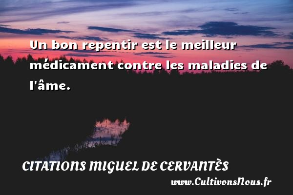 Citations Miguel de Cervantès - Un bon repentir est le meilleur médicament contre les maladies de l âme. Une citation de Miguel de Cervantès CITATIONS MIGUEL DE CERVANTÈS