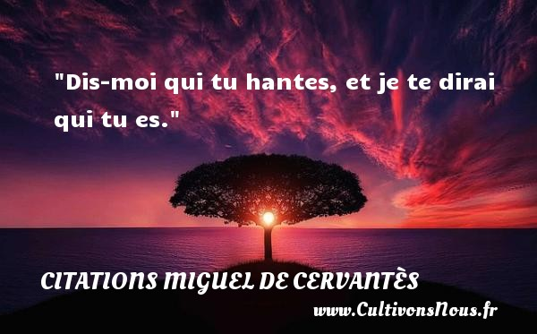 Dis-moi qui tu hantes, et je te dirai qui tu es. Une citation de Miguel de Cervantès CITATIONS MIGUEL DE CERVANTÈS - Citations Miguel de Cervantès