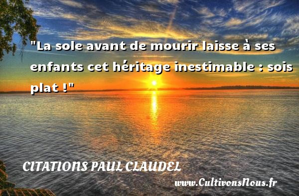 La sole avant de mourir laisse à ses enfants cet héritage inestimable : sois plat ! Une citation de Paul Claudel CITATIONS PAUL CLAUDEL - Citation age