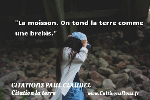 Citations Paul Claudel - Citation la terre - La moisson. On tond la terre comme une brebis. Une citation de Paul Claudel CITATIONS PAUL CLAUDEL