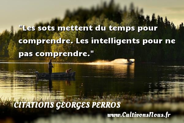 Les sots mettent du temps pour comprendre. Les intelligents pour ne pas comprendre. Une citation de Georges Perros CITATIONS GEORGES PERROS - Citation comprendre - Citation temps