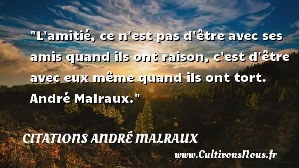 Citations André Malraux - Citation Amitié - L amitié, ce n est pas d être avec ses amis quand ils ont raison, c est d être avec eux même quand ils ont tort.   André Malraux. Une citation sur l amitié    CITATIONS ANDRÉ MALRAUX
