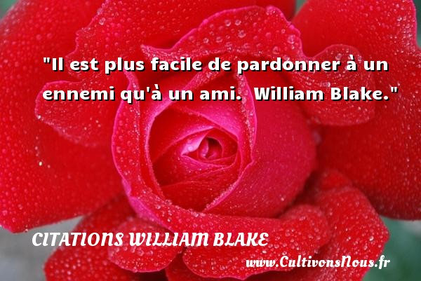 Citations William Blake - Citation Amitié - Il est plus facile de pardonner à un ennemi qu à un ami.   William Blake. Une citation sur l amitié     CITATIONS WILLIAM BLAKE