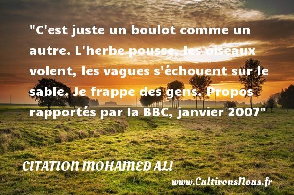 Citation Mohamed Ali - Citation juste - C est juste un boulot comme un autre. L herbe pousse, les oiseaux volent, les vagues s échouent sur le sable. Je frappe des gens.  Propos rapportés par la BBC, janvier 2007   Une citation de Mohamed Ali CITATION MOHAMED ALI