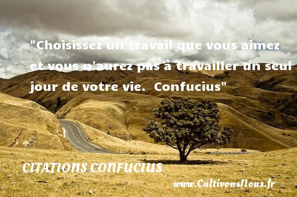 Choisissez un travail que vous aimez et vous n aurez pas à travailler un seul jour de votre vie.   Confucius   Une citation sur le jour     CITATIONS CONFUCIUS - Citation le jour - Citation travail