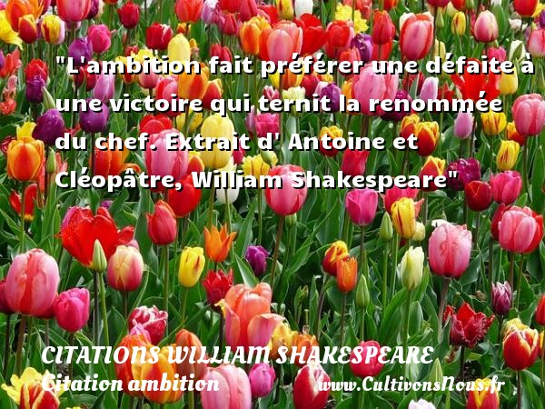 L ambition fait préférer une défaite à une victoire qui ternit la renommée du chef.  Extrait d  Antoine et Cléopâtre, William Shakespeare   Une citation sur l ambition CITATIONS WILLIAM SHAKESPEARE - Citation ambition - Citation défaite