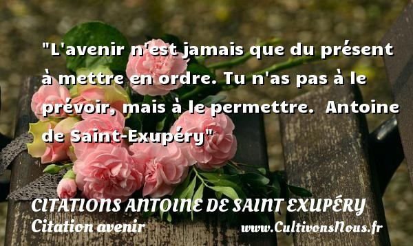 L avenir n est jamais que du présent à mettre en ordre. Tu n as pas à le prévoir, mais à le permettre.   Antoine de Saint-Exupéry   Une citation sur avenir CITATIONS ANTOINE DE SAINT EXUPÉRY - Citations Antoine de Saint Exupéry - Citation au revoir - Citation avenir