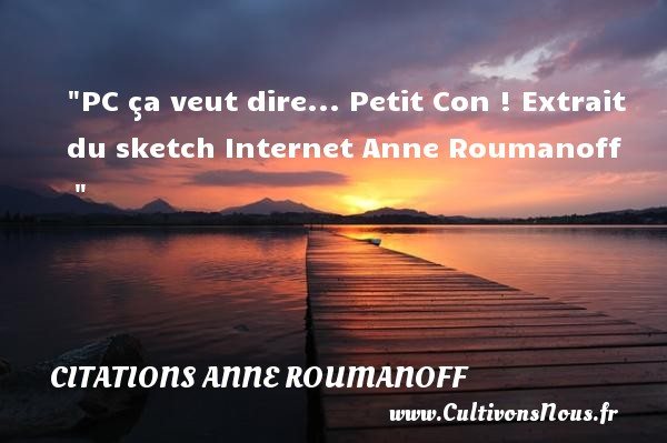 Citations Anne Roumanoff - PC ça veut dire... Petit Con !  Extrait du sketch Internet Anne Roumanoff         CITATIONS ANNE ROUMANOFF