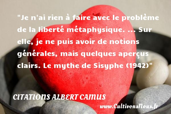 Je n ai rien à faire avec le problème de la liberté métaphysique. ... Sur elle, je ne puis avoir de notions générales, mais quelques aperçus clairs.  Le mythe de Sisyphe (1942) Citations de Albert Camus    CITATIONS ALBERT CAMUS