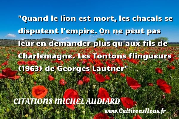 Citations Michel Audiard - Citation dispute - Citation lion - Quand le lion est mort, les chacals se disputent l empire. On ne peut pas leur en demander plus qu aux fils de Charlemagne.  Les Tontons flingueurs (1963) de Georges Lautner. Michel Audiard   Une citation sur la dispute    CITATIONS MICHEL AUDIARD