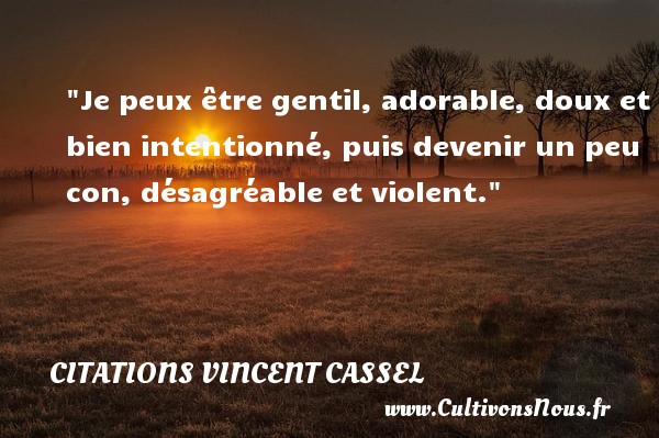 Citations Vincent Cassel - Citation gentil - Je peux être gentil, adorable, doux et bien intentionné, puis devenir un peu con, désagréable et violent.  Une citation de Vincent Cassel CITATIONS VINCENT CASSEL