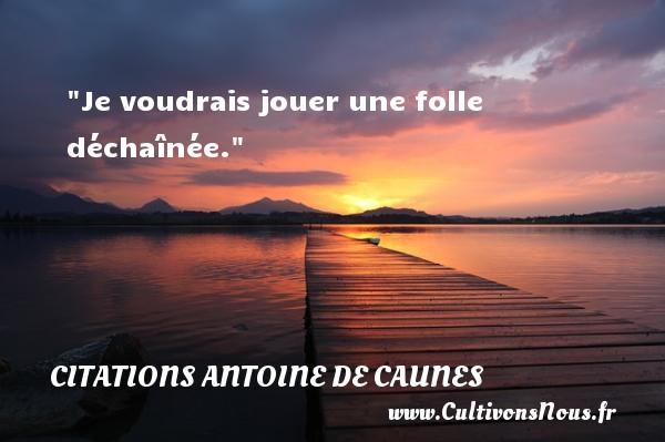 Je voudrais jouer une folle déchaînée.  Citations de Antoine de Caunes     ANTOINE DE CAUNES - Citations Antoine de Caunes - Citation jouer