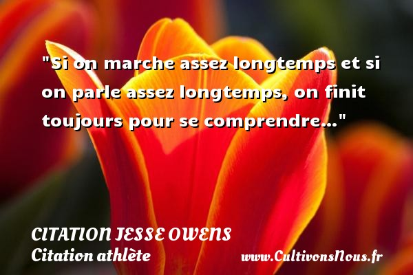 Si on marche assez longtemps et si on parle assez longtemps, on finit toujours pour se comprendre…   Une citation de Jesse Owens CITATION JESSE OWENS - Citation athlète