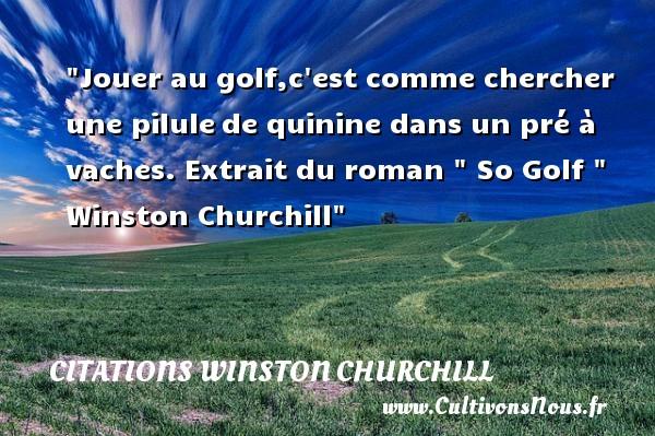 Jouer au golf,c est comme chercher une pilulede quinine dans un pré à vaches.  Extrait du roman   So Golf   Winston Churchill CITATIONS WINSTON CHURCHILL - Citation jouer