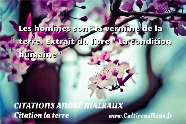 Citations André Malraux - Citation la terre - Les hommes sont la vermine de la terre.  Extrait du livre   La condition humaine     Une citation d André Malraux CITATIONS ANDRÉ MALRAUX