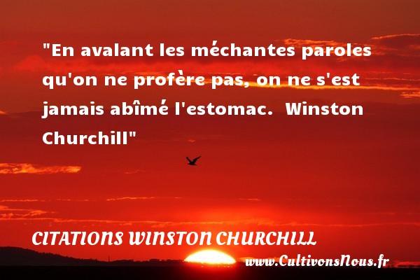 Citations Winston Churchill - En avalant les méchantes paroles qu on ne profère pas, on ne s est jamais abîmé l estomac.   Winston Churchill CITATIONS WINSTON CHURCHILL