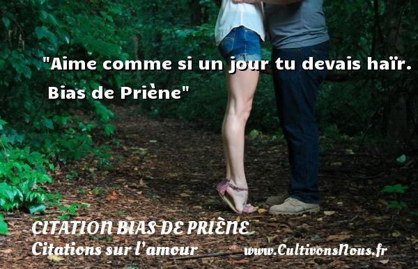 Aime comme si un jour tu devais haïr.   Bias de Priène   Une citation sur l amour CITATION BIAS DE PRIÈNE - Citation Bias de Priène - Citations sur l'amour