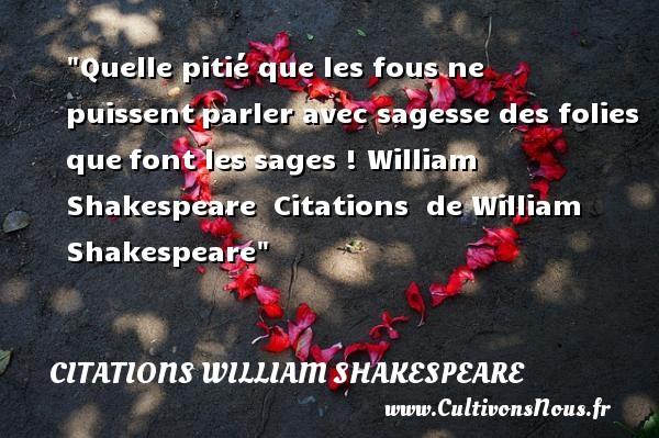 Quelle pitié que les fous ne puissentparler avec sagesse des folies quefont les sages !  William Shakespeare    Citations   de William Shakespeare CITATIONS WILLIAM SHAKESPEARE - Citation folie