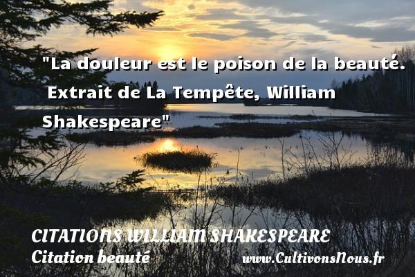 La douleur est le poison de la beauté.   Extrait de La Tempête, William Shakespeare   Une citation sur la beauté CITATIONS WILLIAM SHAKESPEARE - Citation beauté