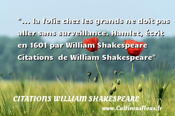 ... la folie chez les grands ne doitpas aller sans surveillance. Hamlet, écrit en 1601 par WilliamShakespeare    Citations   de William Shakespeare CITATIONS WILLIAM SHAKESPEARE - Citation folie