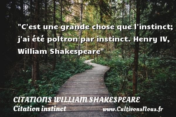 Citations William Shakespeare - Citation instinct - C est une grande chose que l instinct; j ai été poltron par instinct.  Henry IV, William Shakespeare   Une citation sur l instinct     CITATIONS WILLIAM SHAKESPEARE