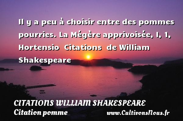 Citations William Shakespeare - Citation pomme - Il y a peu à choisir entre des pommes pourries.  La Mégère apprivoisée, I, 1, Hortensio    Citations   de William Shakespeare CITATIONS WILLIAM SHAKESPEARE