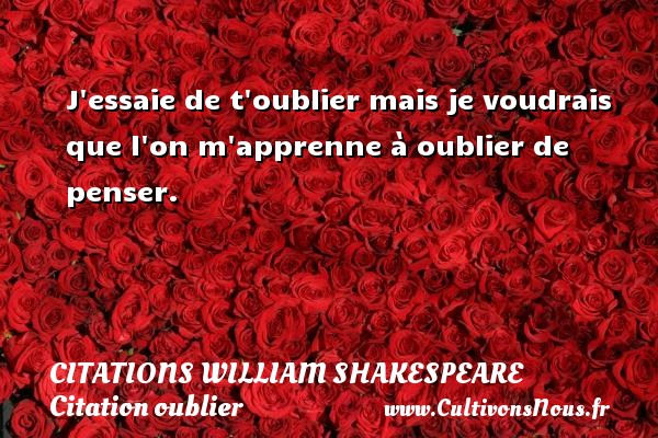 Citations William Shakespeare - Citation oublier - J essaie de t oublier mais je voudrais que l on m apprenne à oublier de penser.   Une citation de William Shakespeare CITATIONS WILLIAM SHAKESPEARE