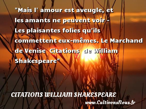 Mais l  amour est aveugle, et les amants ne peuvent voir - Les plaisantes folies qu ils commettent eux-mêmes.  Le Marchand de Venise    Citations   de William Shakespeare CITATIONS WILLIAM SHAKESPEARE - Citation folie