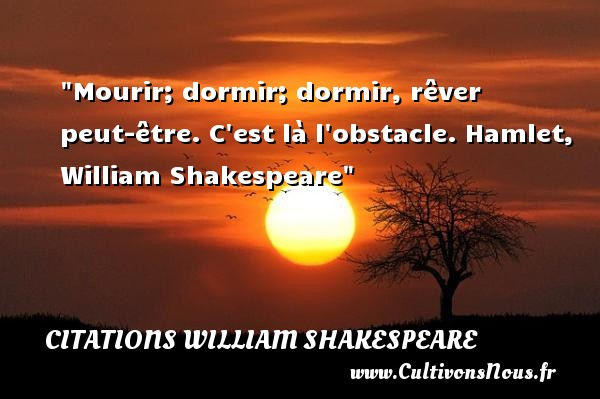 Mourir; dormir; dormir, rêver peut-être. C est là l obstacle.  Hamlet, William Shakespeare   Une citation sur dormir     CITATIONS WILLIAM SHAKESPEARE - Citation dormir