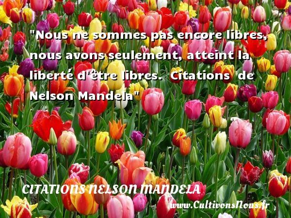 Citations Nelson Mandela - Nous ne sommes pas encore libres, nous avons seulement, atteint la liberté d être libres.    Citations   de Nelson Mandela CITATIONS NELSON MANDELA