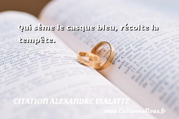 Qui sème le casque bleu, récolte la tempête. Une citation d  Alexandre Vialatte CITATION ALEXANDRE VIALATTE
