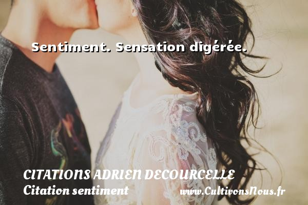 Sentiment. Sensation digérée. Une citation d  Adrien Decourcelle CITATIONS ADRIEN DECOURCELLE - Citation sentiment