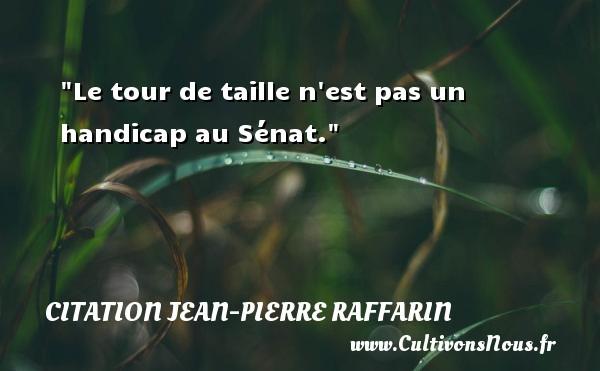 Le tour de taille n est pas un handicap au Sénat. Une citation de Jean-Pierre Raffarin CITATION JEAN-PIERRE RAFFARIN