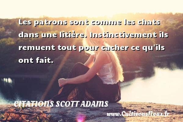 Les patrons sont comme les chats dans une litière. Instinctivement ils remuent tout pour cacher ce qu ils ont fait. Une citation de Scott Adams CITATIONS SCOTT ADAMS - Citation patron
