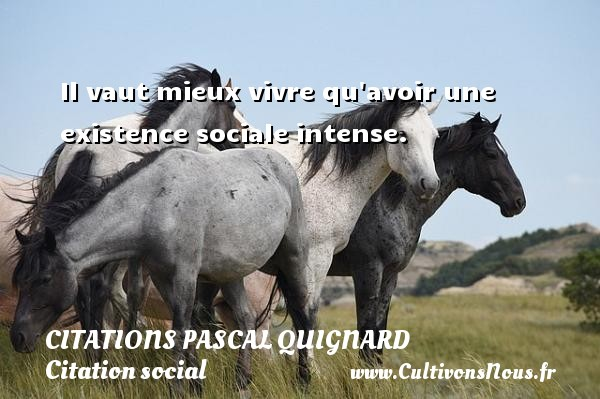 Citations Pascal Quignard - Citation social - Il vaut mieux vivre qu avoir une existence sociale intense. Une citation de Pascal Quignard CITATIONS PASCAL QUIGNARD