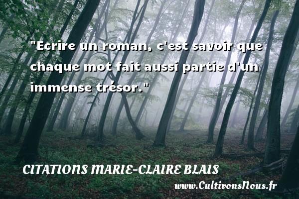 Citations Marie-Claire Blais - Citation roman - Ecrire un roman, c est savoir que chaque mot fait aussi partie d un immense trésor. Une citation de Marie-Claire Blais CITATIONS MARIE-CLAIRE BLAIS