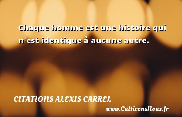 Citations Alexis Carrel - Chaque homme est une histoire qui n est identique à aucune autre.  Une citation d  Alexis Carrel CITATIONS ALEXIS CARREL