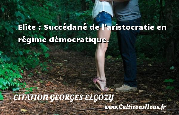 Elite : Succédané de l aristocratie en régime démocratique. Une citation de Georges Elgozy CITATION GEORGES ELGOZY